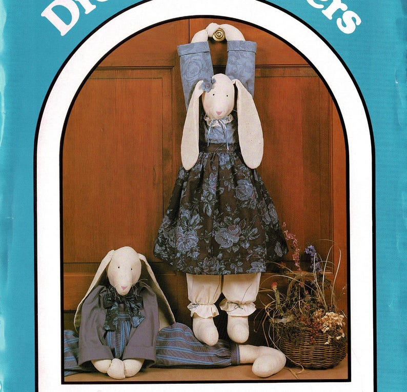 Draft Stopper Bunny & Clothes, Sewing Pattern Crafts Supply, Dream Spinners  1988 Grand Rabbit 155, Floppy Bunnies 30
