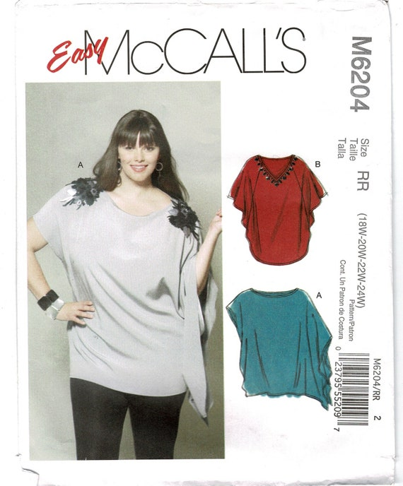 Easy Mccalls 6204 Ladies Tunics Loose Fit Sewing Patterns For Etsy