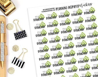 Payday Stickers, Payday Planner Stickers, set of 55 Planner Stickers