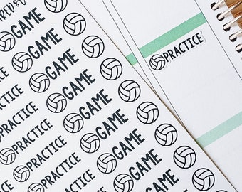 Volleyball Stickers, Volleyball Practice Stickers, Volleyball Game Stickers, set of 52 planner stickers