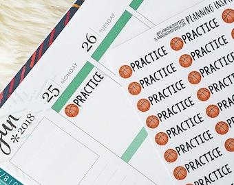 Basketball Stickers, Basketball Practice Stickers, Basketball Game Stickers, set of 52 planner stickers