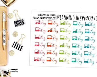 Blog Stickers, Blogging Stickers, Blogger Stickers, Set of 36 planner stickers