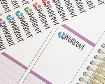 Workout Stickers, Exercise Stickers, Set of 72, Exercise Planner Stickers, Fitness Planner Stickers