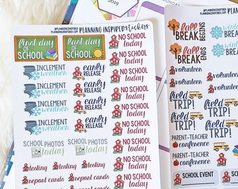 School Stickers, School Stickers for Planner, set of 70+ School Planner Stickers