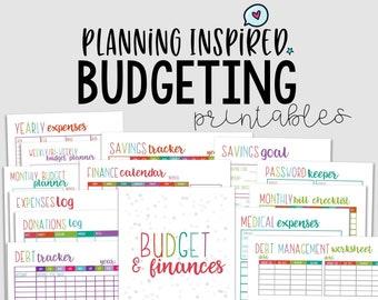 Printable Budget Planner, Budget Printables, PDF Printable Finance Planner, 14 Pages, US Letter & Half Letter Size,Instant Download,Editable