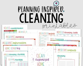 Cleaning Planner, Cleaning Checklist, PDF Printable Cleaning Schedule, 14 Pages, US Letter & Half Letter Size, Instant Download, Editable