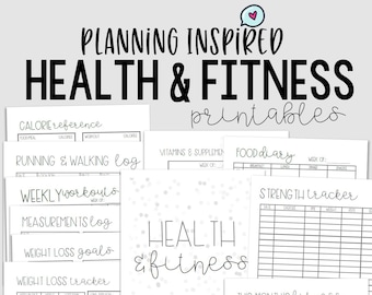 photograph regarding Iron Strength Workout Printable called Physical fitness Tracker Health and fitness Planner PDF Printable Physical fitness Etsy