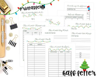 Printable Christmas Inserts, Half Letter Size for A5 Planners, A5 Christmas Inserts, Christmas Printable Planner
