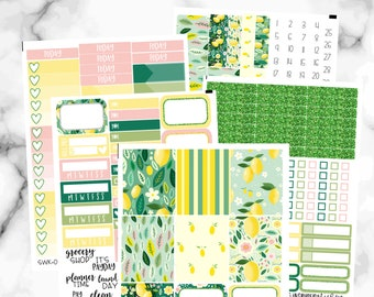 Lemon Planner Stickers, Weekly Sticker Kit, Life Hands You Lemons Weekly Kit Stickers for Erin Condren Life Planner