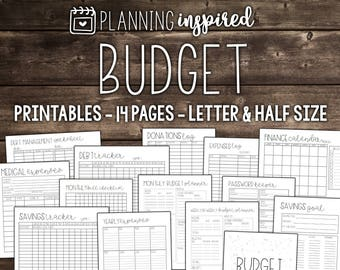 Budget Planner Printable, Letter Size printables for your Budget Binder, 14 Pages Included
