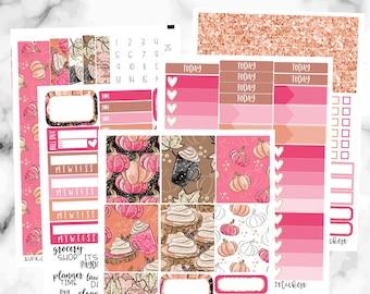 Pumpkin Spice Weekly Planner Sticker Kit, Weekly Sticker Kit for Erin Condren Planner, Vertical Weekly Stickers, Pumpkin Weekly Sticker Kit