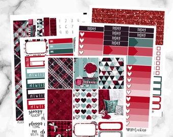 Winter Weekly Sticker Kit, Erin Condren Weekly Kit, Cozy Plaid Weekly Sticker Set, Weekly Planner Sticker Set