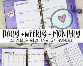 A5 Planner Inserts, Printed A5 Weekly Inserts, A5 Monthly Inserts, A5 Daily Inserts, Horizontal Weekly Planner Inserts, Half Letter Inserts