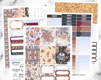 Autumn Fairytale Weekly Planner Sticker Kit, Weekly Sticker Kit for Erin Condren Planner, Vertical Weekly Stickers, Fall Weekly Sticker Kit
