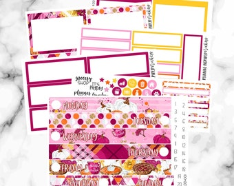 Thanksgiving Daily Duo Stickers, Daily Duo Sticker Kit, Thankful, November Daily Duo Weekly Kit