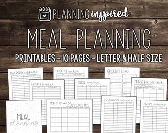 Printable Meal Planner, Meal Planning Printable, Meal Planner Printable, Meal Planning Kit, Editable