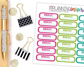 Hydrate Stickers, Water Intake Tracking Stickers, Set of 28 Planner Stickers