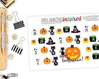 Halloween Countdown Stickers, Halloween Stickers