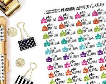 PTA Meeting Stickers, PTA Stickers, Set of 56 PTA Meeting Planner Stickers
