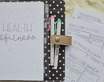 PRINTED Fitness Planner Inserts, A5 Fitness Inserts, Half Size Health & Fitness Planner Inserts