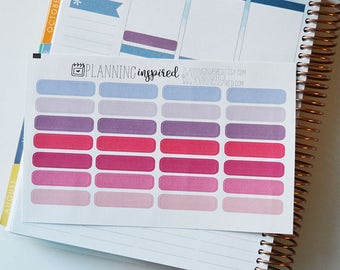 Label Stickers, Pink & Purple, set of 28 Skinny Label Planner Stickers