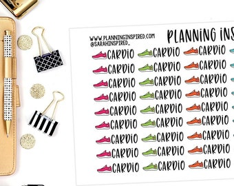 Cardio Stickers, Workout Stickers, Set of 45 Workout Planner Stickers, Exercise Stickers