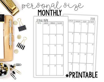 2017-2018 Printable Monthly Insert, Personal Monthly Planner Inserts, Personal Monthly Inserts