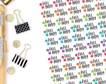 Full Body Workout Stickers, Set of 60, Exercise Stickers, Fitness Stickers