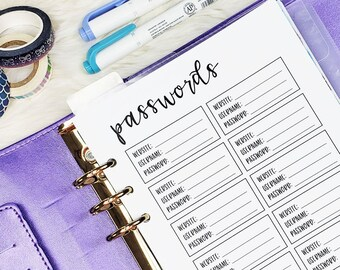 A5 Size Password Inserts, Half Letter Password Insert, Password Insert for A5 Size Planners