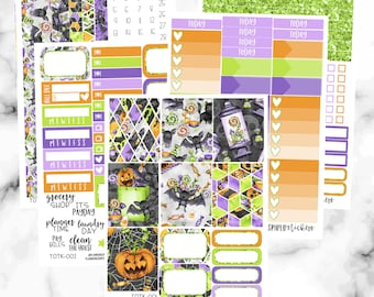 Trick or Treat Weekly Planner Sticker Kit, Halloween Weekly Sticker Kit for Erin Condren Planner, Vertical Weekly Stickers