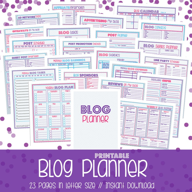 graphic relating to Blog Planner Printable identified as Running a blog Planner, Printable Blog site Planner, Web site Planner, Site Coming up with, Blogger, 23 Sheets, Quick Down load, DOTS