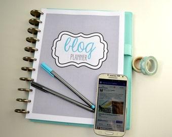 Blog Planner Printable Set, Blog Planning Printables, Letter Size, 23 Pages, Instant Download, Editable/Fillable, BLUE