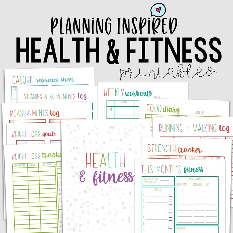 picture regarding Free Printable Fitness Journal titled Health and fitness Planner, Fitness Planner, PDF Printable Health Magazine, 11 Webpages, US Letter 50 percent Letter Sizing, Instantaneous Down load, Editable