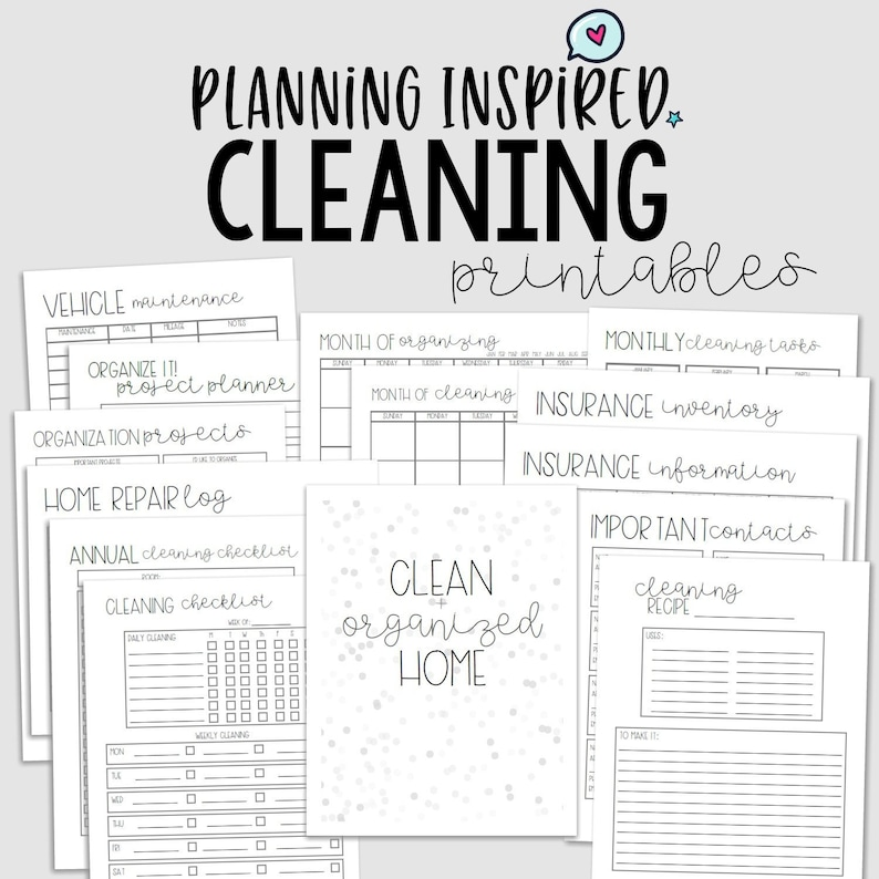 graphic relating to Printable Cleaning Checklist named Cleansing Planner, Cleansing Record, PDF Printable Cleansing Plan, 14 Internet pages, US Letter Measurement 50 percent Letter Sizing,Immediate Down load,Editable