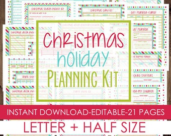 Christmas Planner, Holiday Planner, Printable Christmas Planner Kit, Letter Size + Half Size Included, 21 Pages, INSTANT