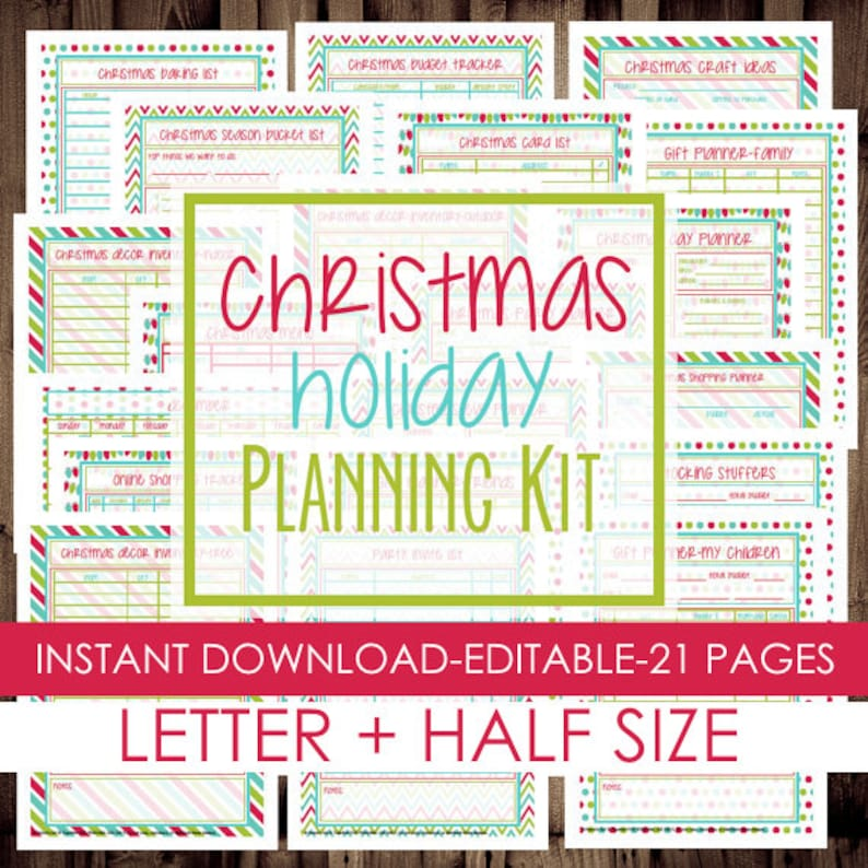graphic regarding Christmas Planner Printable identified as Xmas Planner, Vacation Planner, Printable Xmas Planner Package, Letter Measurement + Fifty percent Measurement Provided, 21 Internet pages, Immediate