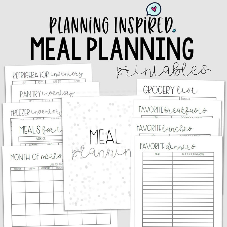 photograph regarding Printable Dinner Planner named Dinner Planner, PDF Printable Menu Planner, Spouse and children Dinner Planner, 10 web pages, US Letter 50 % Letter Dimensions, Quick Down load, Editable