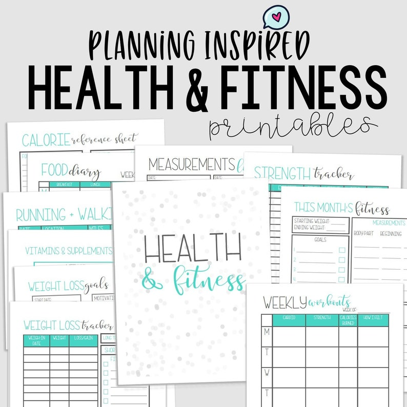 picture regarding Fitness Planner Printable named Conditioning Tracker, Exercise Planner, PDF Printable Health and fitness Planner, 11 Internet pages, US Letter Fifty percent Letter Dimension, Immediate Obtain, Editable