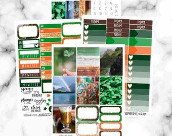 St. Patricks Day Weekly Sticker Kit, Erin Condren Weekly Kit, St. Patricks Day Stickers, Weekly Sticker Set, Weekly Planner Stickers