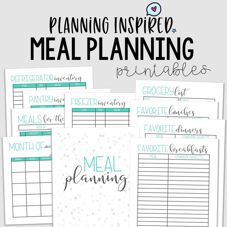 picture regarding Printable Meal Plan identified as Menu Planner, PDF Printable Dinner Planner, Family members Dinner Planner, 10 internet pages, US Letter 50 % Letter Measurement, Prompt Obtain, Editable