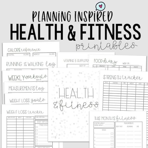Health Planner Fitness Journal Pdf Printable Fitness Etsy