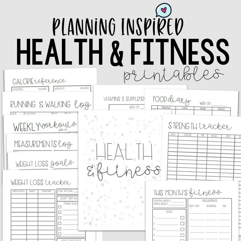 picture regarding Printable Fitness Journals known as Physical fitness Planner, Health Magazine, PDF Printable Physical fitness Planner, 11 Webpages, US Letter 50 percent Letter Sizing, Fast Down load, Editable