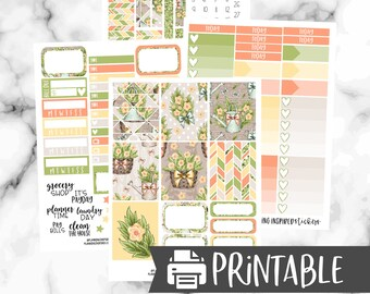 Printable Sticker Kit, In the Garden, Printable Weekly Kit, Spring Printable Weekly Stickers, for use with ECLP