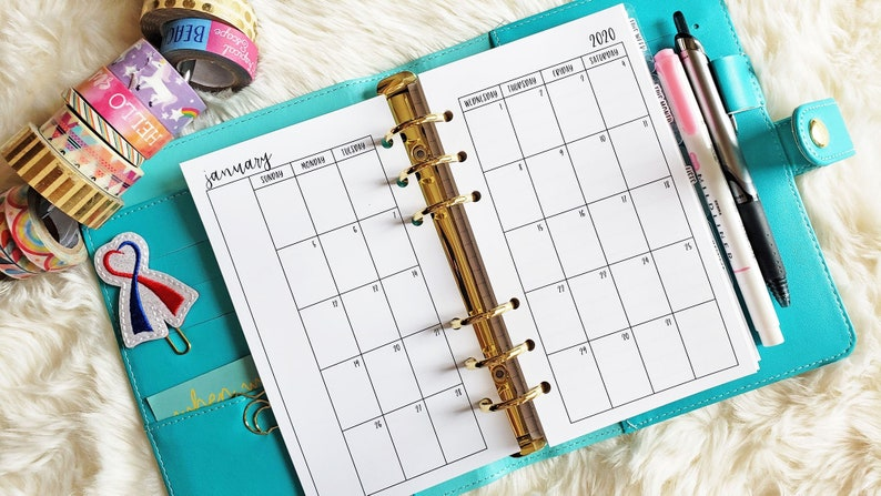 Printed Personal Planner Inserts Personal Monthly Insert image 0
