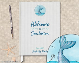 Personalized Mermaid Guest Book, Vacation Home Beach House Guest Book, Original Watercolor Illustration, Housewarming Hostess Gift