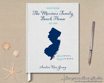 Personalized Family Vacation Home Guest Book, Shore House Guest Book, Housewarming Welcome Book, Beach Rental Guest Book, Any Location