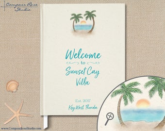 Personalized Beach House Guest Book, Vacation Home Guest Book, Original Watercolor Illustration, Housewarming Hostess Gift, Guest Sign-in