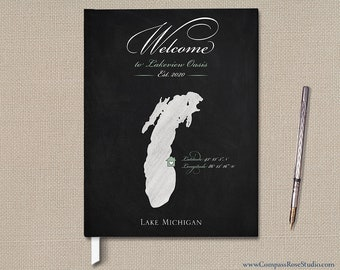 Chalkboard Map Guest Book, Custom Vacation Home Guest Welcome Book, Chalkboard Personalized Guest Book, Lake House Guest Book, Any Location