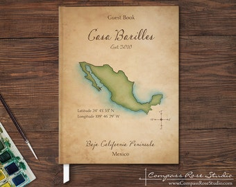 Personalized Vacation Home Guest Book, Vintage Watercolor Map Guest Book, Rental Home Guest Book, Housewarming, Any State, Island or Country