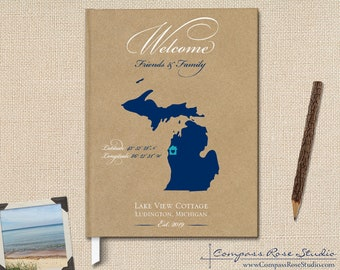Personalized Family Vacation Home Guest Book, Lake House Gift, Housewarming Welcome Book, Rental Home Guest Book, Any Location